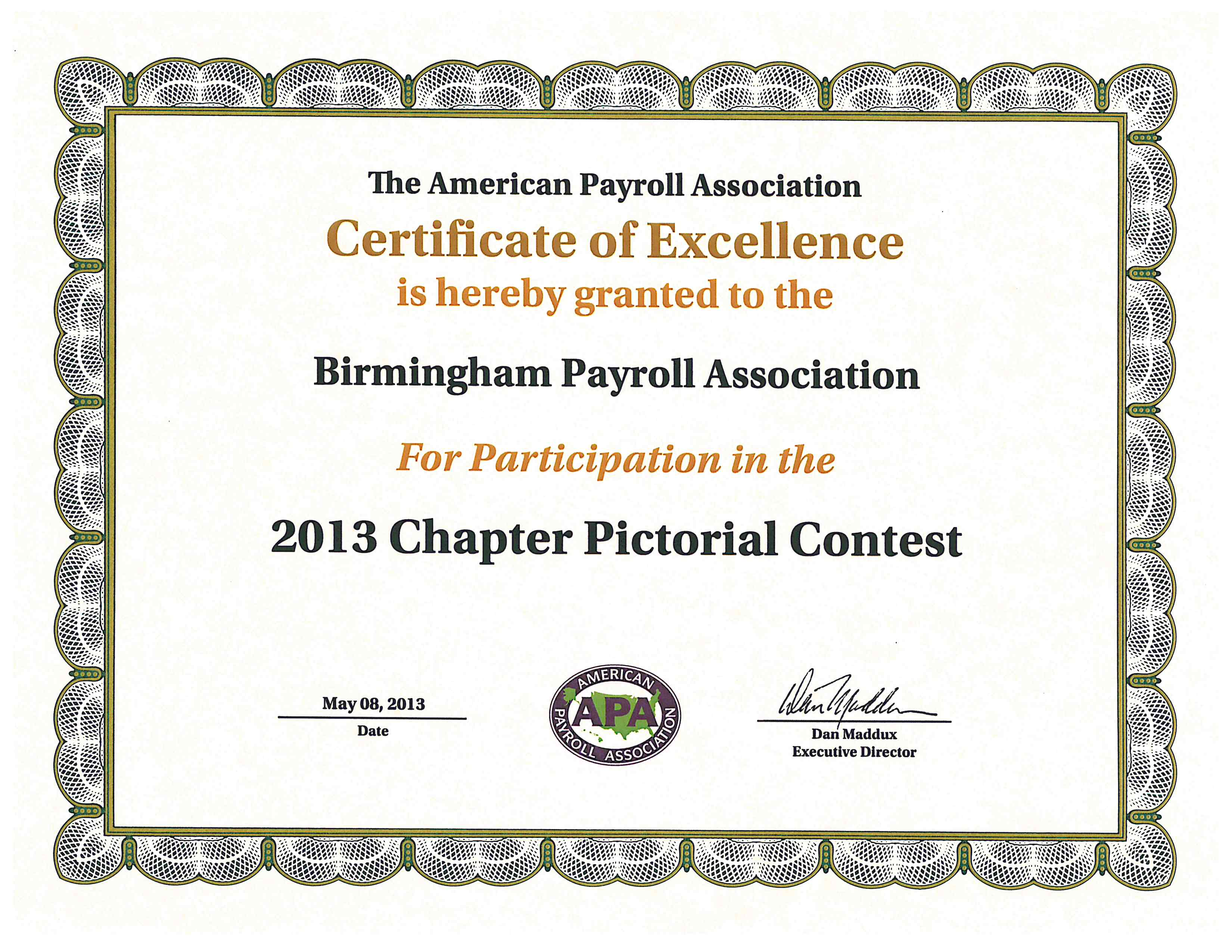 2013 apa chapter pictorial contest certificate of excellence